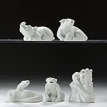 FIVE CHINESE BLANC-DE-CHINE PORCELAIN FIGURAL WATER DROPPERS OF ANIMALS AND REPTILES, PROBABLY EIGHTEENTH CENTURY.