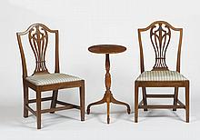 PAIR OF NEW ENGLAND FEDERAL CARVED MAHOGANY SIDE CHAIRS, PROBABLY CONNECTICUT.