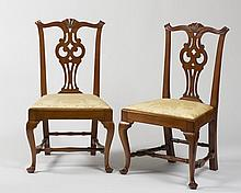 PAIR OF MASSACHUSETTS TRANSITIONAL CHIPPENDALE MAHOGANY SIDE CHAIRS, SALEM AREA, CIRCA 1780.