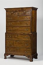 NEW ENGLAND CHIPPENDALE TIGER MAPLE CHEST-ON-CHEST, CIRCA 1790.