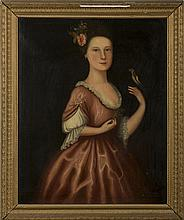 ANGLO-AMERICAN SCHOOL PORTRAIT OF AN EIGHTEENTH CENTURY WOMAN IN PINK GOWN WITH A ROSE IN HER HAIR AND HOLDING A FINCH.