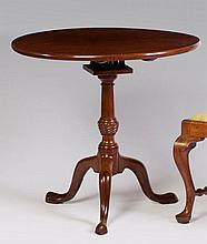 ENGLISH QUEEN ANNE MAHOGANY TILT-TOP BIRD-CAGE TEA TABLE.