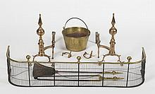 PAIR OF AMERICAN BRASS BALL-AND-SPIRE-TOP LEFT AND RIGHT ANDIRONS, PROBABLY NEW YORK.