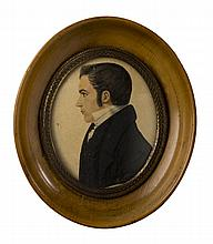 JUSTUS DA LEE (AMERICAN 1793-1878). MINIATURE PROFILE PORTRAIT OF A GENTLEMAN WITH SIDEBURNS AND WHITE COLLAR, CIRCA 1830-35.