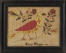 PENNSYLVANIA DRAWING OF BIRDS AND FLOWERS, SIGNED