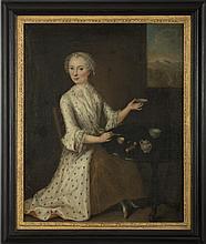 ENGLISH PORTRAIT OF AN EIGHTEENTH CENTURY LADY SERVING TEA.