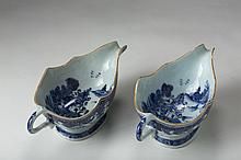 PAIR OF CHINESE EXPORT PORCELAIN BLUE AND WHITE SILVER-SHAPE SAUCEBOATS, MID-LATE EIGHTEENTH CENTURY.