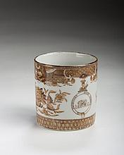 CHINESE EXPORT PORCELAIN ARMORIAL 'BROWN FITZHUGH' COFFEE CAN FROM THE GABRIEL HENRY MANIGAULT SERVICE, CHARLESTON, SOUTH CAROLINA, 1820-23.