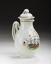 CHINESE EXPORT PORCELAIN 'SHIPPING' MILK JUG AND COVER FOR THE AMERICAN MARKET, CIRCA 1795.
