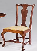 MASSACHUSETTS TRANSITIONAL CARVED WALNUT SIDE CHAIR, 1760-1775.