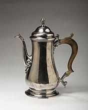 GEORGE II SILVER COFFEEPOT, JOHN BAYLEY, LONDON, 1756-57.