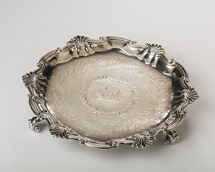 GEORGE II IRISH SILVER CRESTED WAITER, DUBLIN, PROBABLY WILLIAM WILLIAMSON, CIRCA 1754.