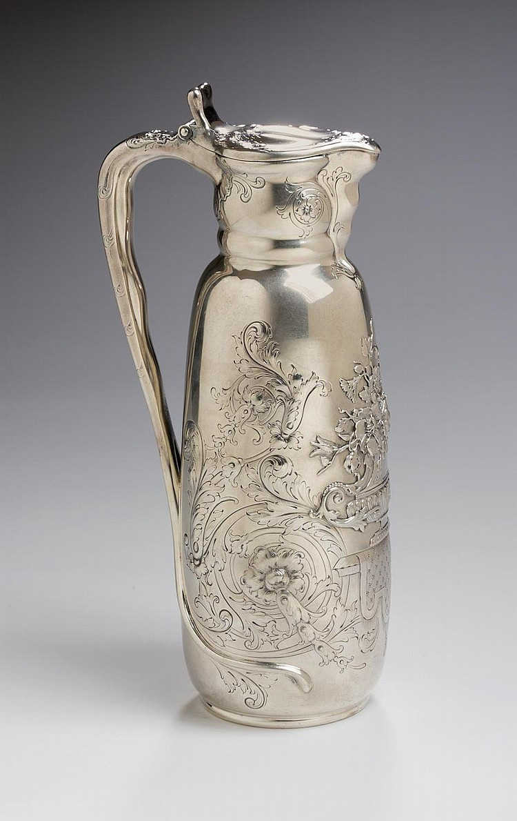 FINE TIFFANY & CO. ART NOUVEAU SILVER CLARET JUG, NEW YORK, 1873-91.