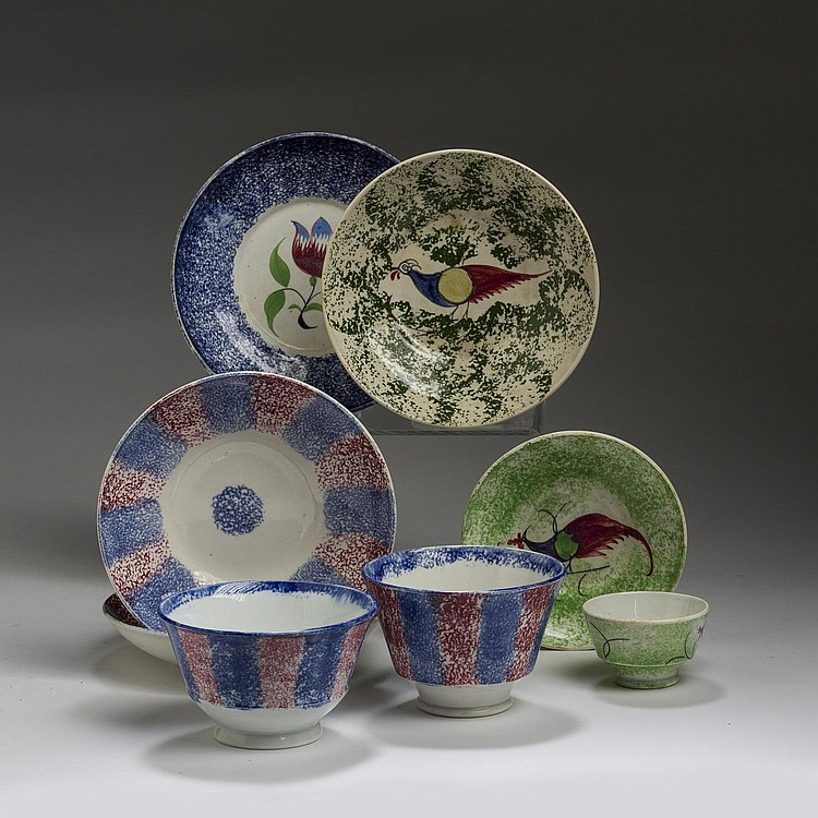 GROUP OF STAFFORDSHIRE RED, BLUE AND GREEN SPATTERWARE WARES, CIRCA 1840.