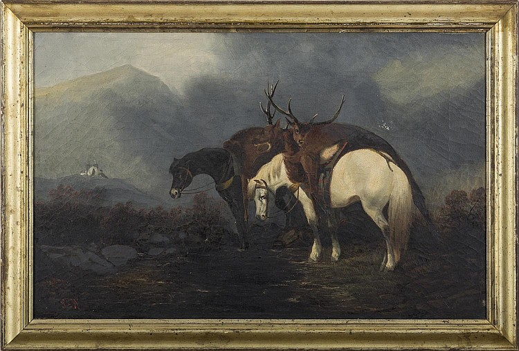 RETURN FROM THE HUNT. BRITISH SCHOOL, NINETEENTH CENTURY.