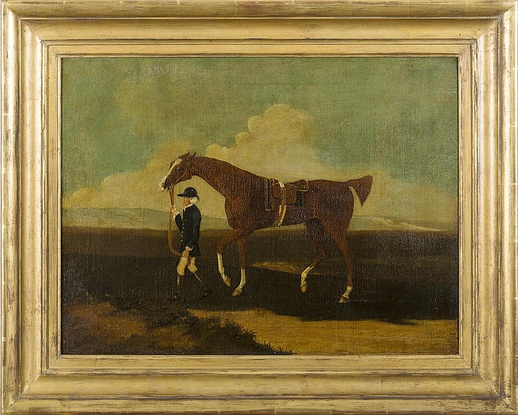 A CHESTNUT RACE HORSE WITH GROOM. FOLLOWER OF JAMES SEYMOUR (BRITISH 1702-1752).