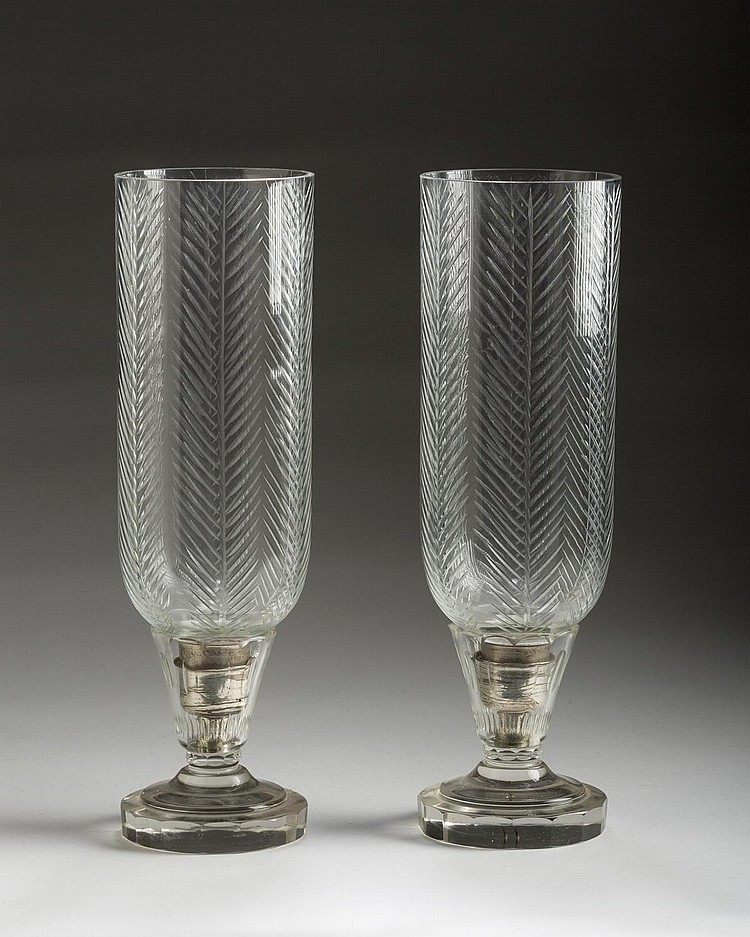 PAIR OF CUT-GLASS CANDLESTICKS WITH HURRICANE SHADES.