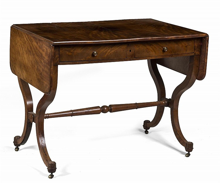 ENGLISH REGENCY DROP-LEAF SOFA TABLE.