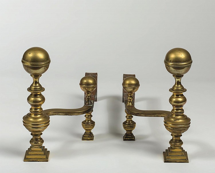PAIR OF BOSTON, MASSACHUSETTS FEDERAL BRASS BALL-TOP ANDIRONS, ATTRIBUTED TO HUNNEMAN.
