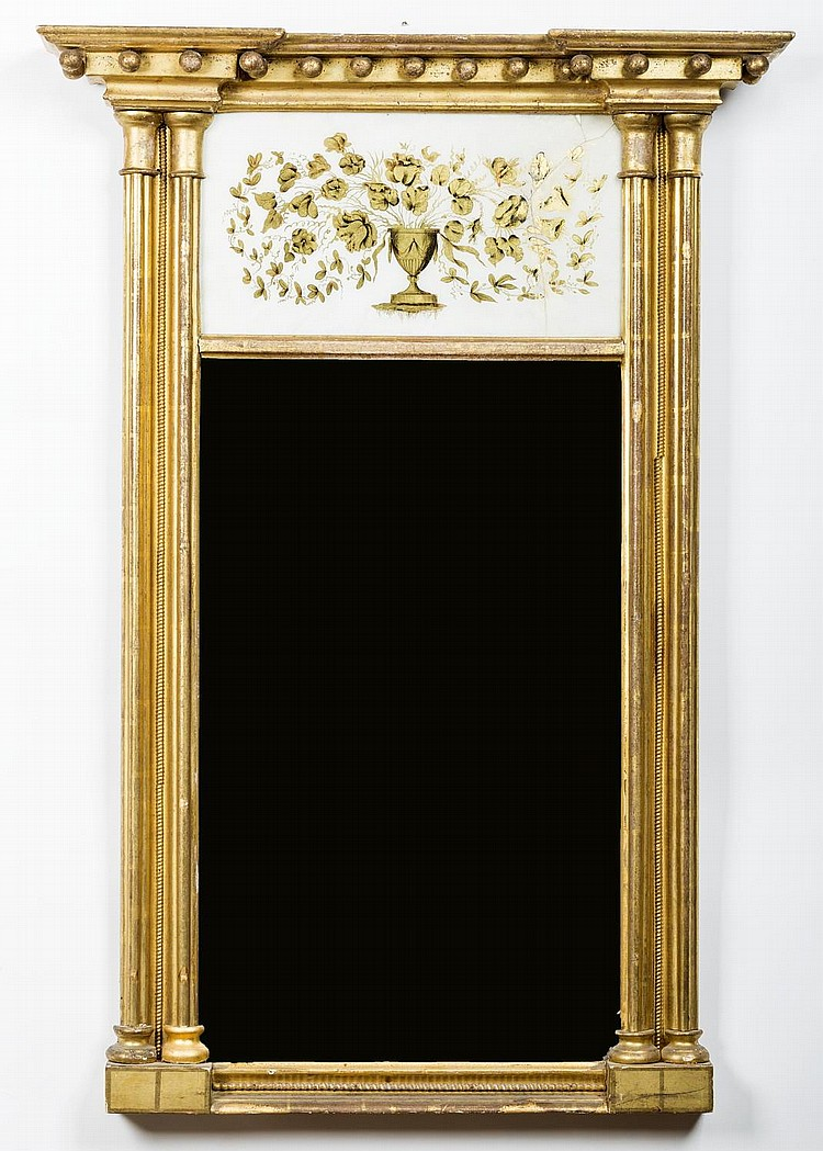 TWO SIMILAR MASSACHUSETTS FEDERAL CARVED GILT-WOOD AND EGLOMISE MIRRORS.