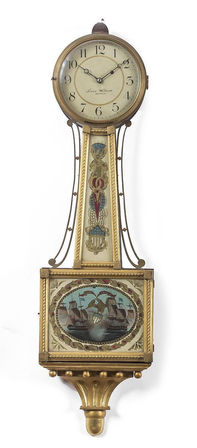MASSACHUSETTS PRESENTATION BANJO CLOCK WITH EGLOMISE PANEL DEPICTING THE BATTLE OF LAKE ERIE, THE DIAL INSCRIBED