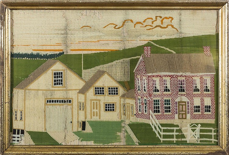AMERICAN WOOLWORK PICTURE OF A RED BRICK HOUSE WITH CONNECTING SHEDS AND BARN.