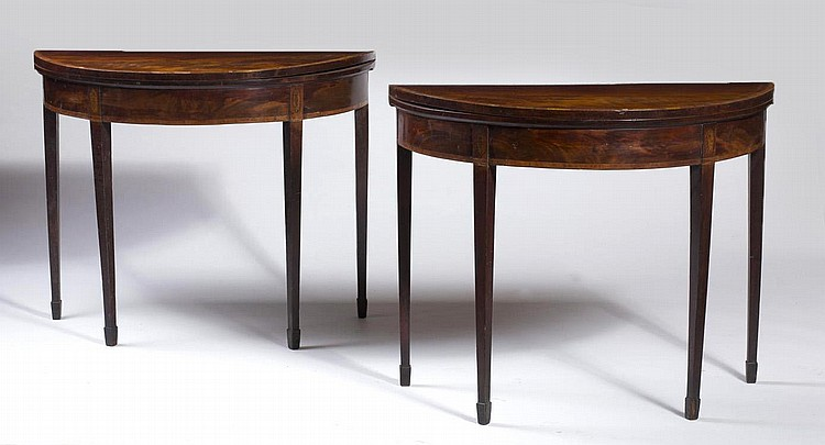 PAIR OF ENGLISH HEPPLEWHITE INLAID DEMILUNE CARD TABLES WITH SQUARE TAPERED LEGS AND SPADE FEET.