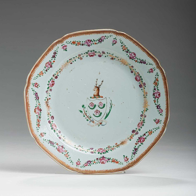 CHINESE EXPORT PORCELAIN FAMILLE ROSE ARMORIAL OCTAGONAL PLATE WITH THE ARMS OF HUNTER, CIRCA 1770.