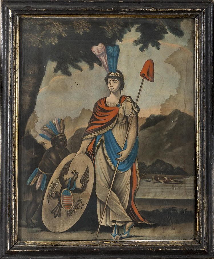 ALLEGORICAL FIGURE OF AMERICA HOLDING AN EAGLE-DECORATED SHIELD AND LIBERTY CAP ATOP A POLE.