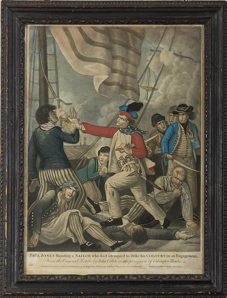 PAUL JONES SHOOTING A SAILOR WHO HAD ATTEMPTED TO STRIKE HIS COLOURS IN AN ENGAGEMENT, 1779.