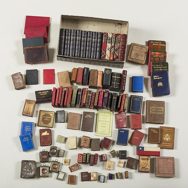 LARGE AND EXTENSIVE COLLECTION OF MINIATURE BOOKS, INCLUDING AMERICAN AND ENGLISH TITLES.
