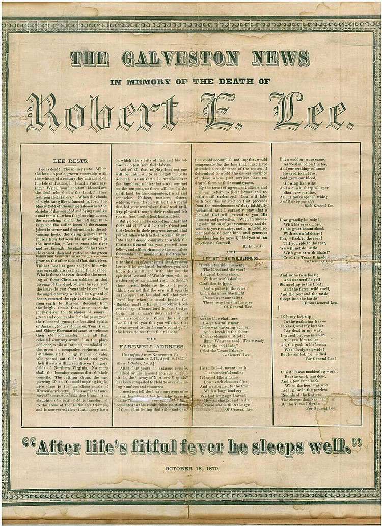 BROADSIDE: THE GALVESTON NEWS, IN MEMORY OF THE DEATH OF ROBERT E. LEE, OCTOBER 18, 1870.
