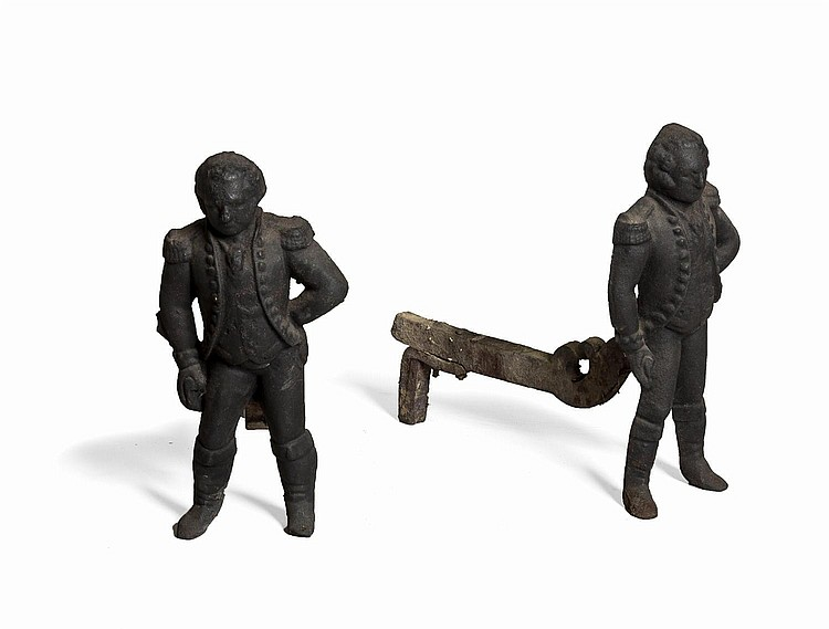 GEORGE WASHINGTON, PAIR OF AMERICAN CAST-IRON FIGURAL ANDIRONS.