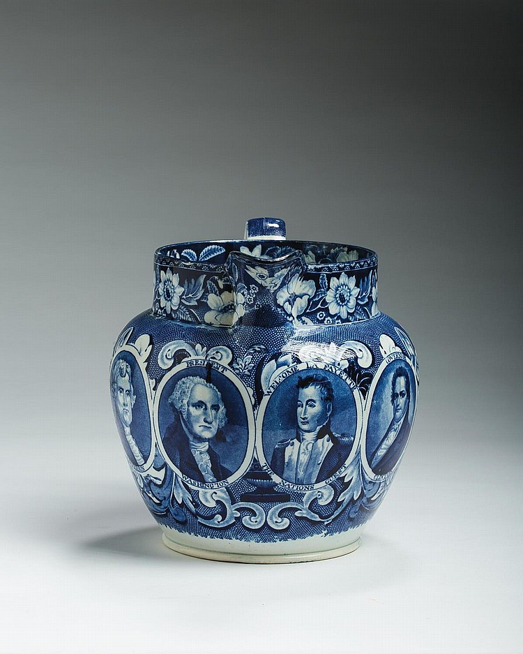 'FOUR MEDALLIONS,' STAFFORDSHIRE DARK BLUE TRANSFER-PRINTED JUG, RALPH STEVENSON & WILLIAMS, COBRIDGE, 1825-27.