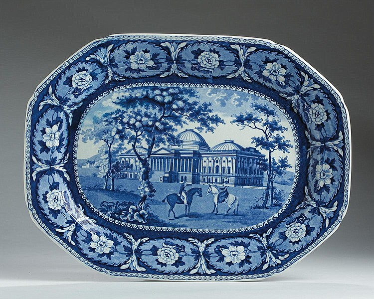 'CAPITOL AT WASHINGTON: BEAUTIES OF AMERICA SERIES,' STAFFORDSHIRE DARK BLUE TRANSFER-PRINTED PLATTER, JOHN & WILLIAM RIDGWAY, HANLEY, 1814-30.