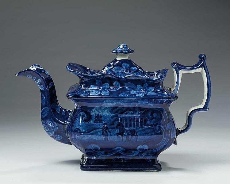 'MOUNT VERNON, THE SEAT OF THE LATE GEN'L WASHINGTON,' STAFFORDSHIRE DARK BLUE TRANSFER-PRINTED HOT WATER OR LARGE TEAPOT AND COVER, UNKNOWN MAKER, EARLY NINETEENTH CENTURY.