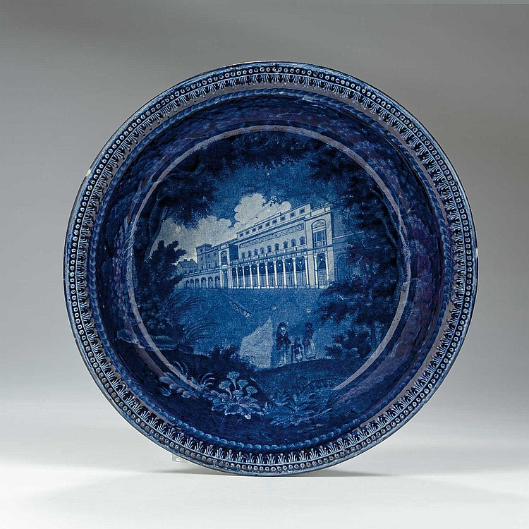 'ITALIAN OPERA HOUSE, HAYMARKET' OR 'OPERA HOUSE, LONDON: TREES AND FOLIAGE BORDER,' STAFFORDSHIRE DARK BLUE TRANSFER-PRINTED EMBOSSED POTATO BOWL, UNKNOWN MAKER, IMPORTED BY THE PHILADELPHIA FIRM S. TAMS & CO., 1822-28.