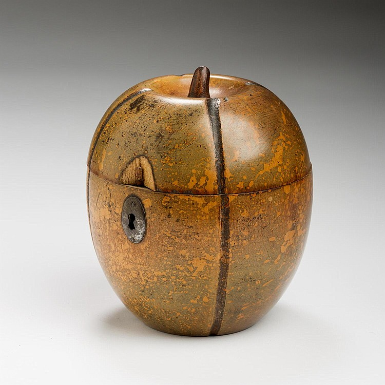 GEORGE III FRUITWOOD TEA CADDY IN THE FORM OF A MELON, LATE EIGHTEENTH - EARLY NINETEENTH CENTURY.