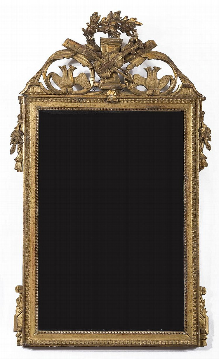 FRENCH LOUIS XV GILTWOOD CARVED GILTWOOD MIRROR.