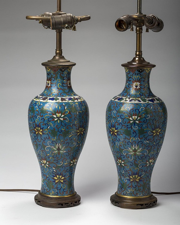 PAIR OF CHINESE CLOISONNE VASES, NOW MOUNTED AS LAMPS.
