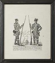 TWO SOLDIERS OF THE CONTINENTAL CONGRESS IN NORTH AMERICA FROM A DRAWING BY A GERMAN OFFICER.