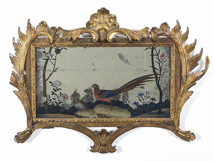 CHINESE MIRROR PAINTING OF TWO BIRDS IN A LANDSCAPE IN A GILTWOOD ROCOCO FRAME, EIGHTEENTH CENTURY .