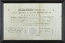 HUMANE SOCIETY OF THE COMMONWEALTH OF MASSACHUSETTS MEMBERSHIP CERTIFICATE FOR JOHN BOYLE, JR., SEPTEMBER 1, 1805.