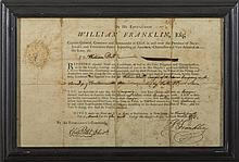WILLIAM FRANKLIN, COLONIAL GOVERNOR OF NEW JERSEY. MILITARY APPOINTMENT FOR WILLIAM DILLS, BURLINGTON, 27 MARCH 1773.
