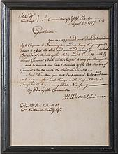 MESHECH WEARE, CHAIRMAN OF THE COMMITTEE OF SAFETY OF NEW HAMPSHIRE. MILITARY ORDERS ADDRESSED TO DR. JOSIAH BARTLETT AND COLONEL NATHANIEL PEABODY, EXETER, AUGUST 23, 1777.