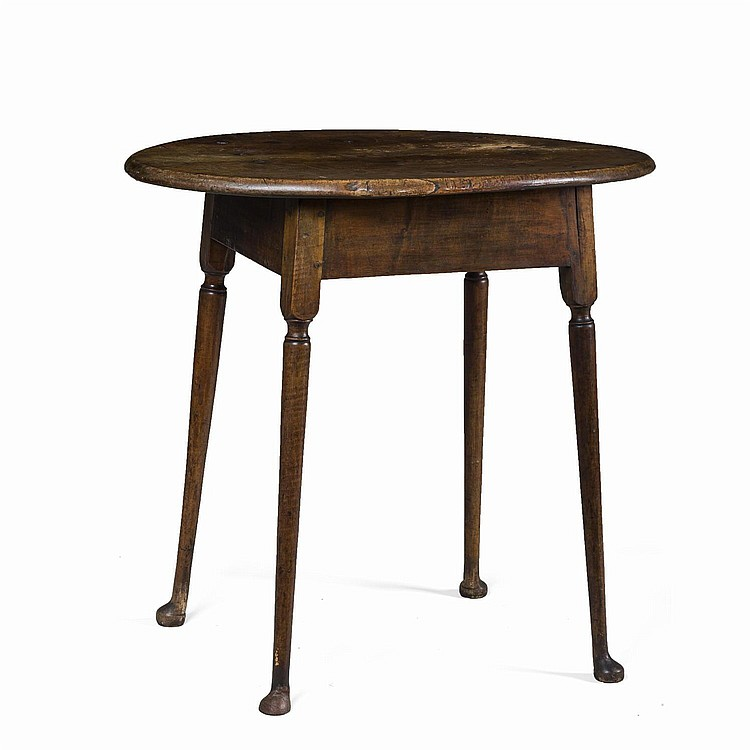 NEW ENGLAND QUEEN ANNE FIGURED-MAPLE TAP TABLE.