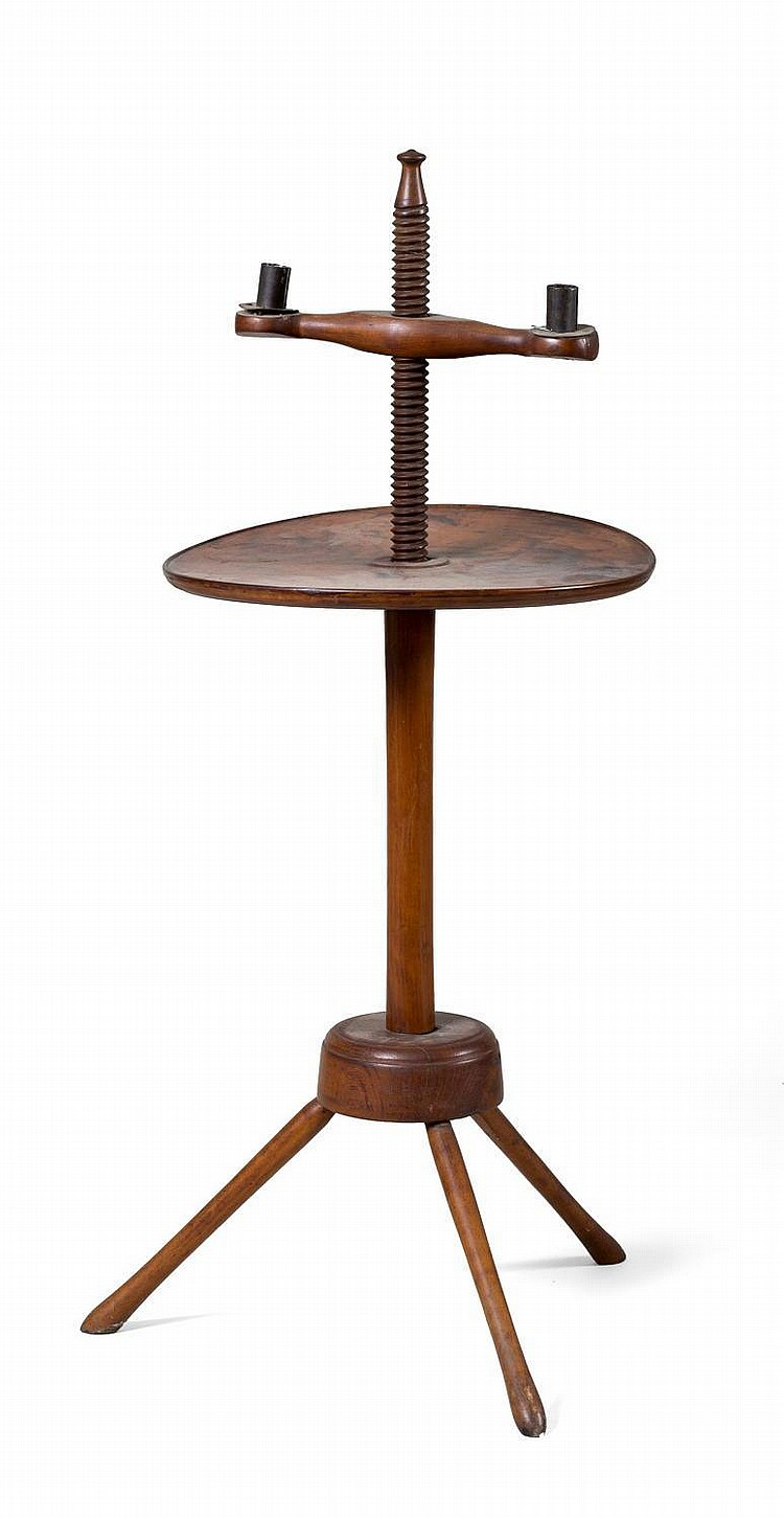 NEW ENGLAND TURNED-MAPLE TWO-LIGHT ADJUSTABLE CANDLESTAND WITH DISHED TRAY AND SPLAYED BASE.