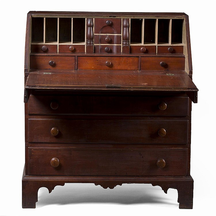 NEW ENGLAND CHIPPENDALE MAPLE SLANT-LID DESK IN RED PAINT, PROBABLY NEW HAMPSHIRE.