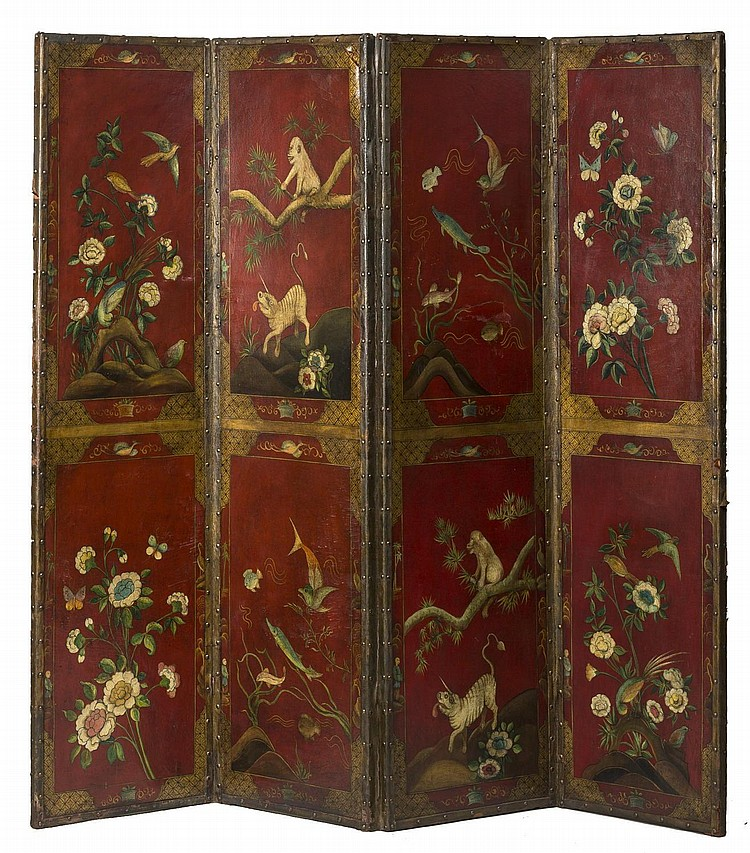CHINIOSERIE FOUR-PANEL PAINTED LEATHER FOLDING SCREEN, PROBABLY ENGLISH.
