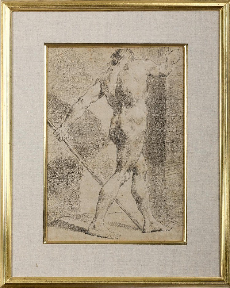 OLD MASTER DRAWING OF A NUDE MALE WALKING.
